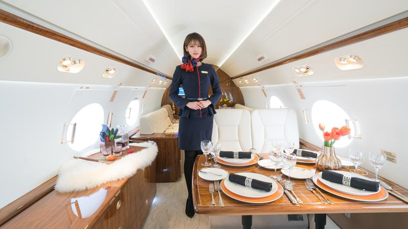 It's all yours up in the air - for a pretty penny flight attendant in airplane