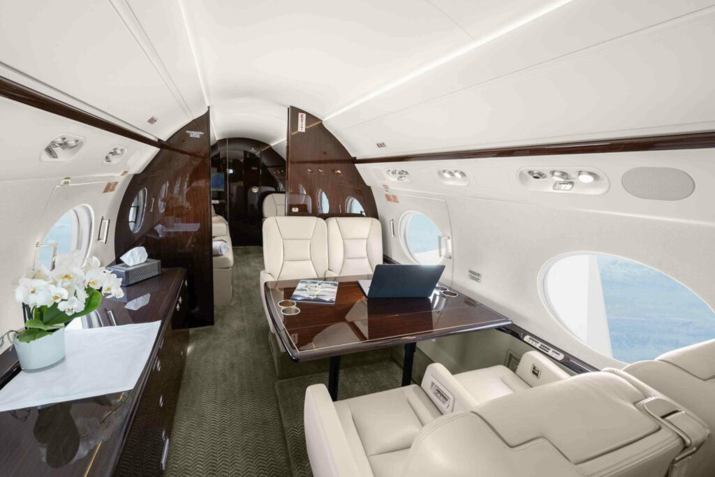 Vertis Aviation says Business Aviation Is Trending Towards Highly Personalised Services The elegant interior of the Gulfstream G450 in the Vertis Aviation portfolio.